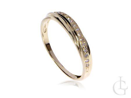 Złoty pierścionek zaręczynowy z cyrkoniami złoto żółte 14K