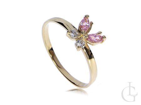 Złoty pierścionek z motylem cyrkonie różowe złoto żółte 14K