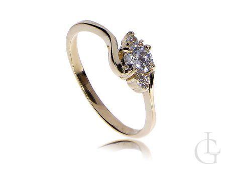 Złoty pierścionek zaręczynowy klasyczny złoto żółte 14K