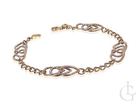 Złota bransoletka damska złoto żółte białe 14K łańcuszek