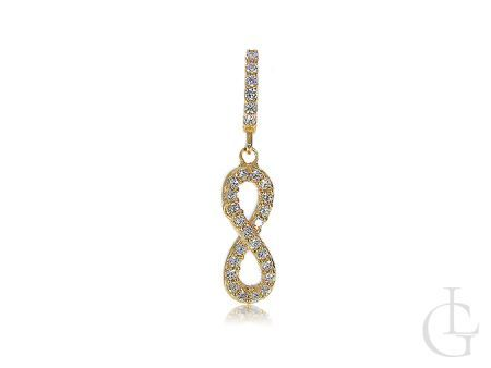Znak nieskończoności złoty wisiorek na łańcuszek z cyrkoniami złoto 585