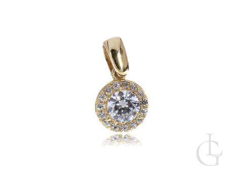 Zawieszka złota okrągła z cyrkonią na łańcuszek złoto 585 14K