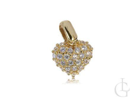 Wisiorek złote serce z cyrkoniami na łańcuszek 14K 585