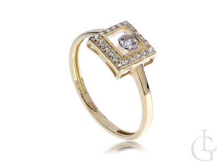 Złoty pierścionek zaręczyny kwadratowa korona cyrkonie złoto 14K