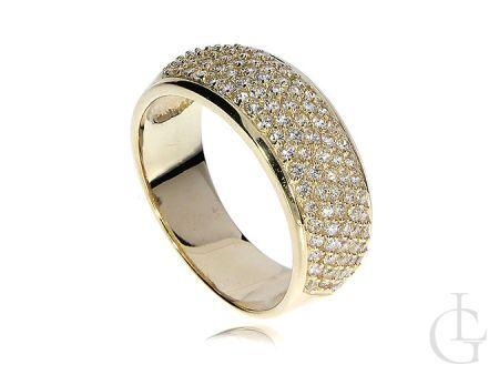 Pierścionek złoty obrączka szeroka szyna złoto żółte 14K 585 cyrkonie
