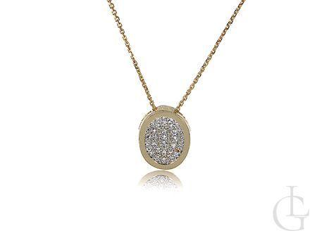 Celebrytka złoty naszyjnik damski wisiorek owalny cyrkonie łańcuszek złoto 14K 585