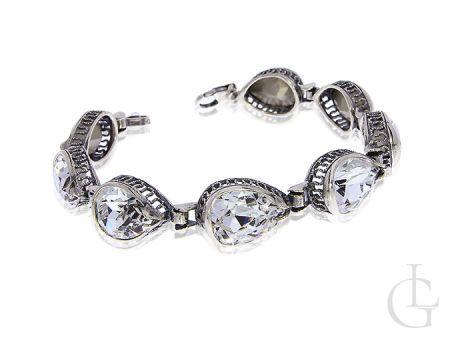 Bransoletka srebrna damska szeroka cyrkonie srebro 925