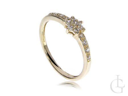 Pierścionek zaręczynowy złoty klasyczny złoto żółte 14K 585