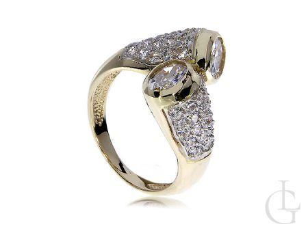 Ekskluzywny złoty pierścionek z cyrkoniami zawijany złoto żółte 14K 585