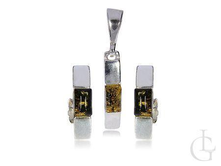 Komplet srebrny biżuterii z bursztynem kolczyki przecinki zawieszka na łańcuszek