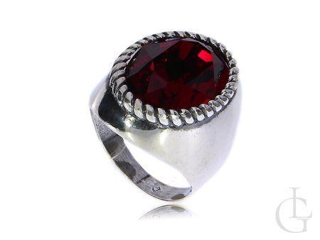 Duży srebrny pierścionek z cyrkonią Swarovskiego