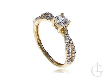 Pierścionek złoty zaręczynowy złoto żółte 14ct cyrkonie
