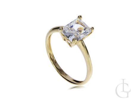 Złoty pierścionek zaręczyny prostokąt korona
