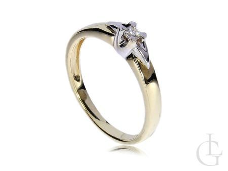 Pierścionek złoty zaręczynowy z diamentem złoto 14ct 0.585