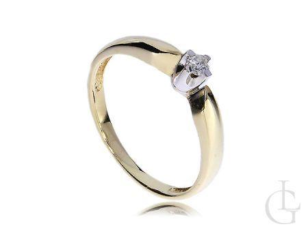 Złoty pierścionek zaręczynowy z brylantem klasyczny złoto 14ct 0.585