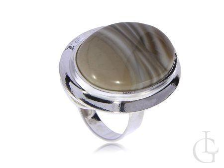 Srebrny pierścionek z krzemem pasiastym