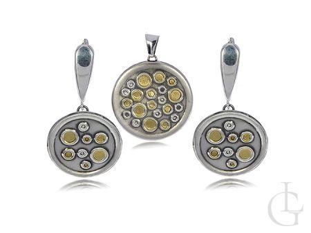 Komplet biżuterii srebrnej kółka kolczyki wisiorek srebro 0.925