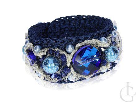 Bransoletka damska Swarovski kryształy niebieskie sznurek wiskoza
