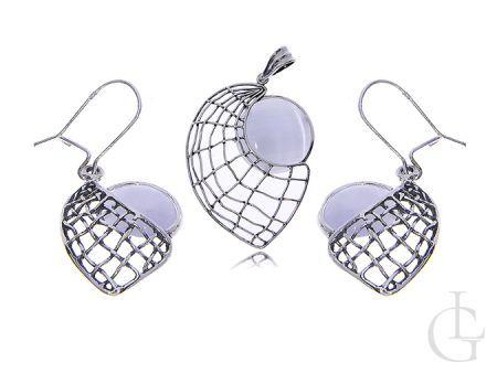Srebrny komplet biżuterii damskiej 925 kolczyki wisiorek masa perłowa