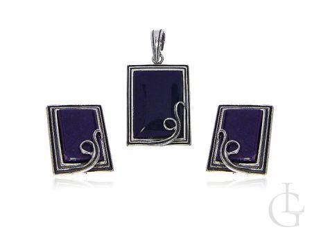 Kolczyki srebrne wisiorek na łańcuszek komplet biżuterii damskiej