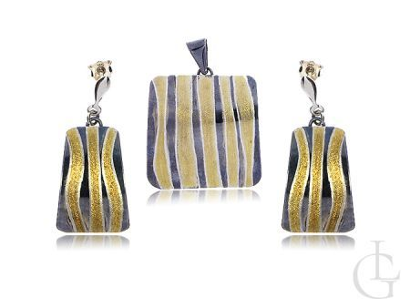 Elegancki komplet biżuterii srebrnej 925 wisiorek kolczyki