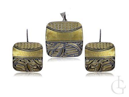 Elegancki komplet biżuterii srebrnej pozłacanej wisiorek kolczyki