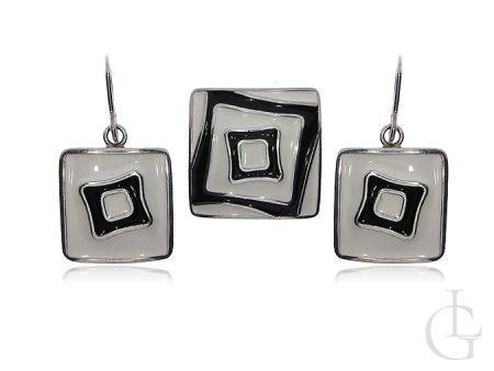 Srebrny komplet biżuterii damskiej kolczyk kwadratowe wisiorek