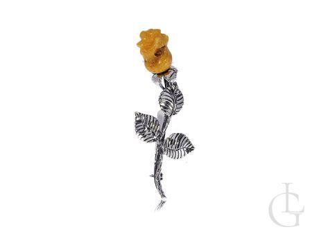 Broszka srebrna róża srebro 0.925 bursztyn