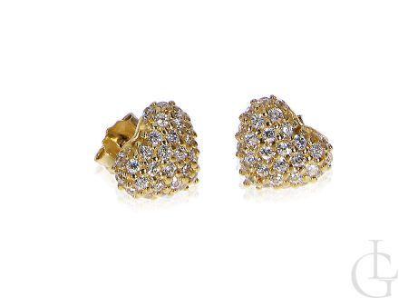 Kolczyki złote serca z cyrkoniami złoto żółte 14K
