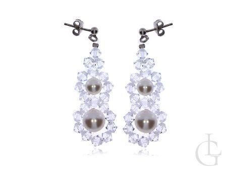 Kolczyki srebrne wiszące kryształy i perły Swarovskiego