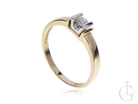 Pierścionek złoty zaręczynowy z brylantem złoto 14K 0.585