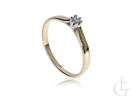 Pierścionek zaręczynowy złoty z brylantem