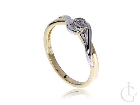 Złoty pierścionek zaręczynowy brylanty