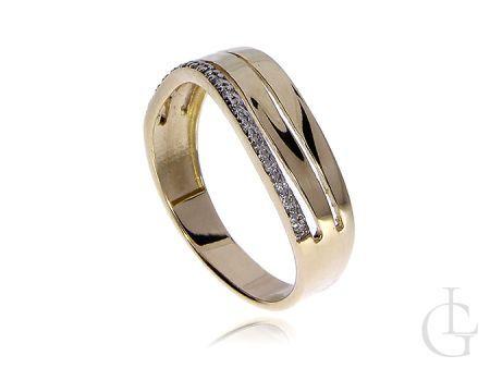 Złoty pierścionek wysadzany brylantami złoto 0.585 14K