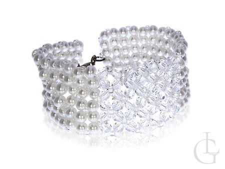 Bransoletka Swarovskiego kryształy perły srebro 0.925