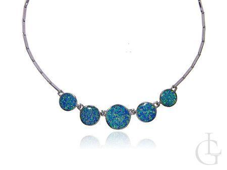 Naszyjnik damski srebrny z opalem srebro 0.925 opal niebieski