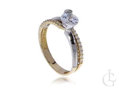 Pierścionek złoty zaręczynowy złoto białe żółte cyrkonie