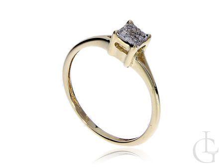 Złoty pierścionek z brylantami złoto żółte 14K 585