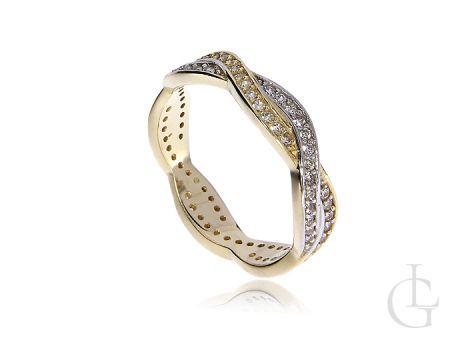 Obrączka złota pierścionek z cyrkoniami
