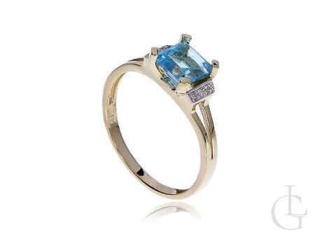 Ekskluzywny pierścionek złoty z brylantami i topazem
