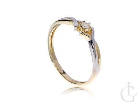 Pierścionek złoty z brylantem na zaręczyny