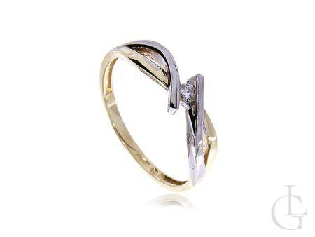 Pierścionek złoty zaręczynowy z brylantem