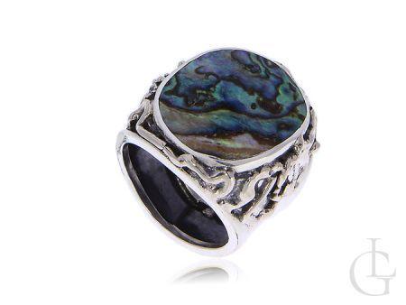 Pierścionek srebrny z masą perłową