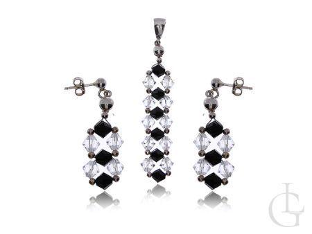 Komplet biżuterii srebrnej z kryształami Swarovskiego