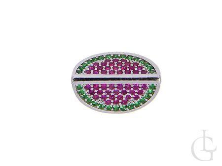 Przywieszka bead charms do bransoletki modułowej srebro rodowane z cyrkoniami arbuz