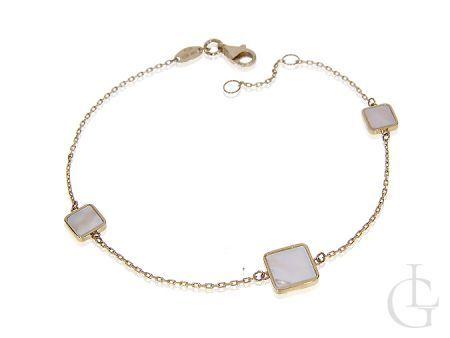 Celebrytka bransoletka złota łańcuszkowa z masą perłową