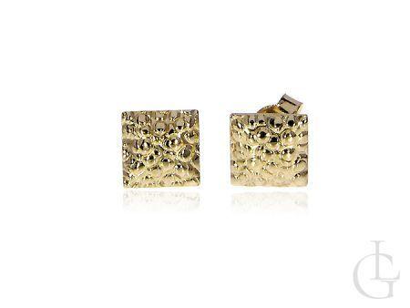 Kolczyki złote kwadratowe na sztyft