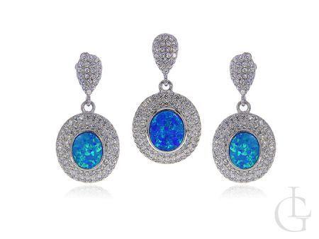 Komplet srebrnej biżuterii z opalem i cyrkoniami