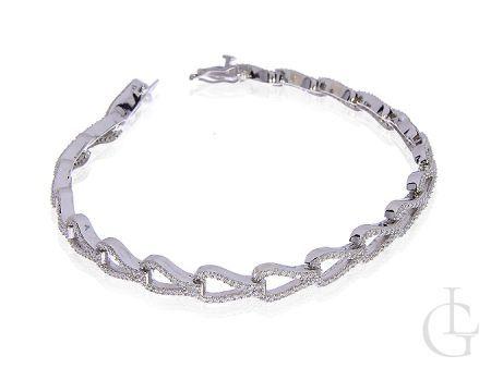 Ekskluzywna bransoletka srebrna rodowana z cyrkoniami
