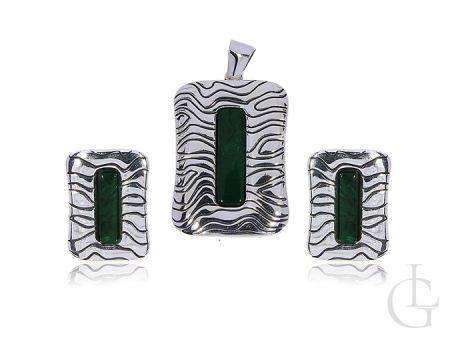 Komplet biżuterii damskiej z malachitem